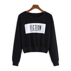 SheIn(sheinside) Black Round Neck Fiction Print Crop Sweatshirt ($13) ❤ liked on Polyvore featuring tops, hoodies, sweatshirts, black, black sweat shirt, sweatshirts hoodies, sweat shirts, long sleeve pullover and long sleeve sweatshirt