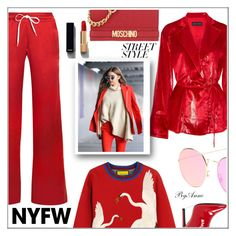 """""""Street style , contest"""" by anne-977 ❤ liked on Polyvore featuring AMIRI, Michael Lo Sordo, Gucci, Chanel, Moschino, Jessica Simpson, contest, contestentry, nyfwstreetstyle and contestpolyvore"""