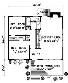 First Floor Plan of Contemporary   House Plan 94873