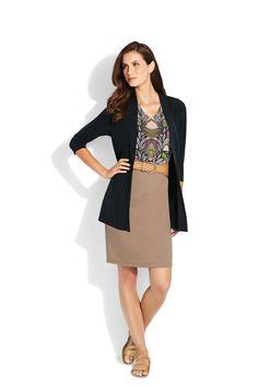 Jersey Gathered Cardigan • Jersey Sleeveless Tunic • Stretch Belt • Ponte Pencil Skirt