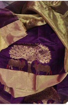 Purple Handloom Chanderi Cotton Silk Saree With Tissue Pallu Jute, Chiffon, Silk Sarees Online, Pure Silk Sarees, How To Look Classy, Saree Wedding, Cotton Silk, Indian Sarees, Beautiful Dresses
