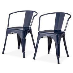 Carlisle Metal Dining Chair - Navy (Blue) (Set of 2)