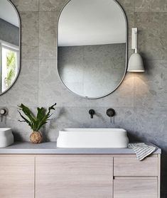 Beachy vibes 🌴 Vivid Slimline Wall Mixer and Outlet in Gun Metal are the perfect fit for a space filled with muted shades! Beach Bathrooms, Bathroom Kids, Modern Bathrooms, Vintage Bathroom Cabinet, Neutral Palette, Bathroom Interior, Bathroom Remodeling, Bathroom Inspiration, Bathroom Inspo