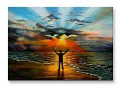 Thanks God Mediterranean Sea Man Lord Sky Sun Israel Sunrise Faith Wall Art Original acrylic painting on canvas by Roman Isakov Canvas Home, Canvas Wall Art, Sun Painting, Mediterranean Sea, Acrylic Painting Canvas, Surrealism, Israel, Sunrise, Original Paintings