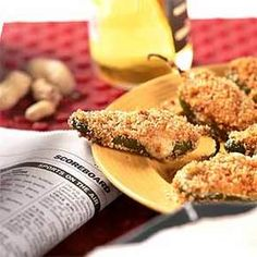 Baked Jalapeno Poppers - I substitute all of the spices for Old Bay and use Panko bread crumbs.