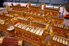 Balinese Gamelan in performance A striking (literally) difference between an Indonesian gamelan and a European orchestra is the centrality of percussion instruments in the former as opposed to the dominance of strings & winds in the latter. This accounts for the ethereal shimmering character of the gamelan sound.
