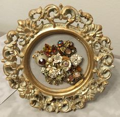 Vintage Jewelry Autumn Floral Framed Art Collage Picture -- Amber and Ivory by RevivalVtgJewelsArt on Etsy