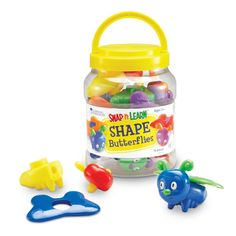 Snap And Learn Shape Butterflies Explore early learning by the bucketful! Each appealing insect invites little hands to snap together and pull apart pieces, reinforcing fine motor skills. Great for imaginative play too. Connect the five butterfly heads to their bodies, then match up the shapes to snap on their wings to practise shape recognition. Includes handy storage bucket.