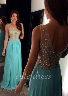 Unique A-line v neck rhinestones chiffon blue long prom dress, evening dress for teens