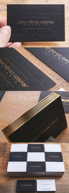 These cards use a simple combination of black, white and gold to create a set of very professional and stylish business cards.