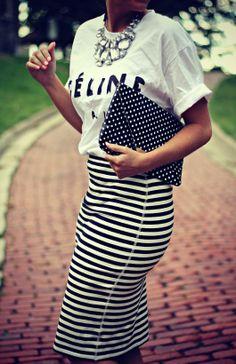 Its all black and white. B polka dots. B stripes. Plain T with black writeup. B neckpiece. Celine T Shirt + Striped Skirt.