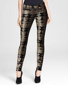 7 For All Mankind Jeans - Brocade Foil Print Velvet Skinny   Bloomingdale's