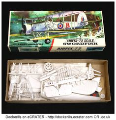 Vintage Airfix Fairey Swordfish Kit. Type 3 / Red Stripe Box Kit. 1/72 Scale. Produced c. 1963-1973.