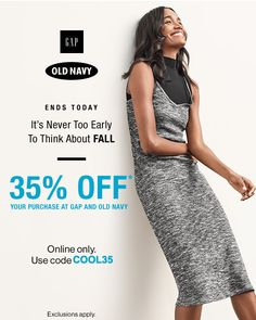 Gap & Old Navy Canada Offers: Save 35% Off Your Purchase Using One Promo Code Online Only http://www.lavahotdeals.com/ca/cheap/gap-navy-canada-offers-save-35-purchase-promo/108288