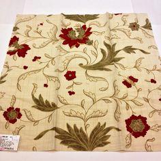 "Lee Jofa Floral Toile Print Fabric Sample  26'' x 26"" Dellamae Print Red Khaki Linen Cotton Nylon + FREE SAMPLES!!! on Etsy, $9.99"