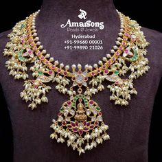 Spirituality is something that you feel within and Amarsons Pearls and Jewels let's you radiate your inner strength outside by this beautiful and intricately designed #Guttapusalu Necklace with Lakshmi Pendant . You sure won't want to miss it . 😍♥ @amarsonsjewellery  Follow 👉: @amarsonsjewellery    For More Details Whatsapp on : +91-9966000001 South Indian Jewellery, Indian Jewellery Design, Latest Jewellery, Indian Jewelry, Jewelry Design, Gold Temple Jewellery, Gold Jewelry, Hyderabad, Gutta Pusalu