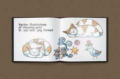 Sleeping pets by Ola Tarakanova's shop on Creative Market