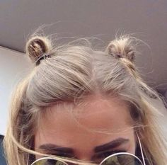Hair accessory: oversized sunglasses 90s style hairstyles bun blonde hair eyebrows face makeup