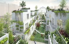 Reinventing Paris Sophie Deramond and François Justet Modern Architecture Design, Green Architecture, Futuristic Architecture, Residential Architecture, Landscape Architecture, Container Home Designs, Urban Agriculture, Urban Farming, Urban Design Concept