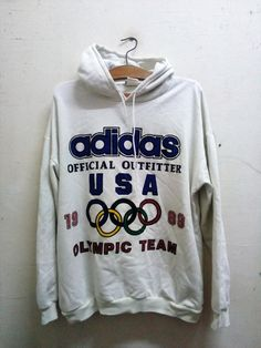 Sale Rare !! Vintage Adidas Olympic outfit Issue 1988 Big Logo Spell Out Designs Hoodie Sweater Celebrity Fashion White Unisex Sz L by Psychovault on Etsy
