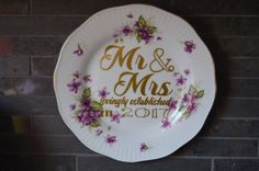 Vintage Upcycled Teacup Saucer Mr. and Mrs. by bostoninachinashop
