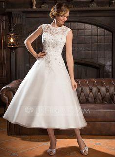 A-linjeformat Rund-urringning Tea-lång Tyll Spetsar Bröllopsklänning med Pärlbrodering Paljetter (002054370)