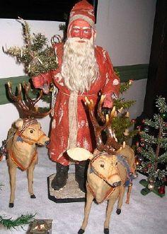 Antique German Santa and 2 reindeer. Christmas Past, Victorian Christmas, Vintage Christmas Ornaments, Father Christmas, Primitive Christmas, Christmas Items, Vintage Holiday, Christmas Displays, Christmas Mantles
