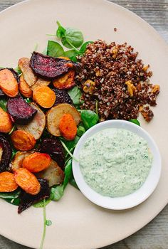 Healthy quinoa with roasted veggies: Vegetarian and hearty.