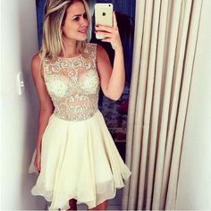 Homecoming Dress,Chiffon Homecoming Dresses,Short Prom Gown,Champagne Homecoming Gowns,2016 Homecoming Dress,Homecoming Dresses,2016 Sweet 16 Dress For Teens