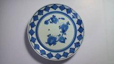 藍九谷草花文皿