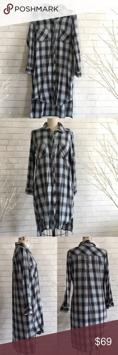 🎆Shirt dress Democracy women's longline High-low plaid Shirt chic with a trendy flair.  Back lace up design, 2 side pockets 100% Cotton.   Ⓜ️chest 23  ✅Bundle and save  ✅🚭 ✅ all reasonable offers will be considered 🚫No Trading 🙅🏻 Poshmark rules only‼️ Democracy Tops Tunics