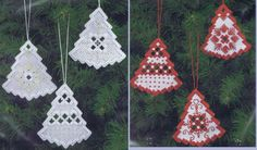 Three pretty little Christmas trees to hang on your tree in red and white or white and silver.