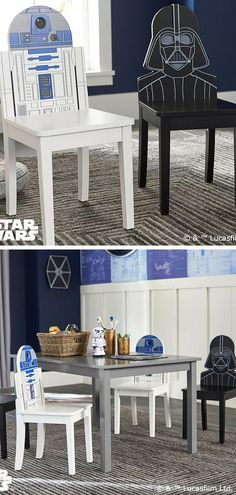 These Star Wars inspired R2-D2 and Darth Vader play chairs are awesome for kids. These chairs are the perfect addition to their playroom work tables. #ad #starwars #r2d2 #darthvader #hair #kids #kidsroom #furniture #playroom
