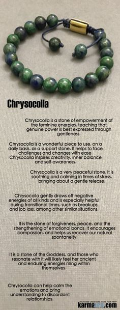 #Chrysocolla is a stone of #empowerment of the feminine energies, the stone of the #Goddess.     #Beaded #Beads #Bijoux #Bracelet #Bracelets #Buddhist #Chakra #Charm #Crystals #Energy #gifts #gratitude #Handmade #Healing #Jewelry #Kundalini #LawOfAttraction #LOA #Love #Mala #Meditation #Mens #prayer #pulseiras #Reiki #Spiritual #Stacks #Stretch #Womens #Yoga #YogaBracelets