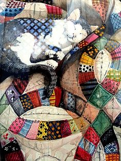 Cat and Quilt Original 24 x 36 with matting Award Winning Watercolor with Quad Designer Matting. $600.00, via Etsy.