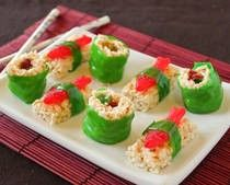"This candy sushi recipe makes adorable sushi look-alikes from Rice Krispies, gummy worms, and other premade candies. Note that this recipe creates two ""types"" of sushi, the maki rolls and the fish-topped nigiri. You can make both, or choose just one type and omit the instructions for the other. As written, the recipe makes approximately 2 dozen rolls and 2 dozen nigiri."
