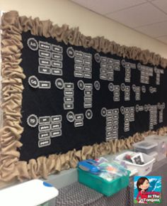 Burlap and chalkboard bulletin board