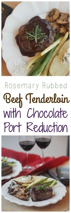 A healthy gluten free recipe for Valentine's Day for Rosemary Rubbed Beef Tenderloin with Chocolate Port Reduction #recipe #greenandblacks