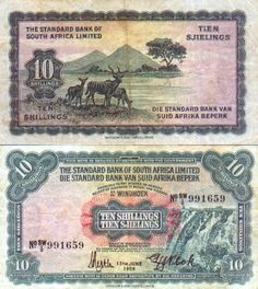 South-West Africa 10 Shillings 15.6.1959 (waterfalls; springbok) Banknote, World Coins, People Of The World, West Africa, Waterfalls, Money, Collection, Design, Silver