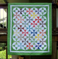 Fabulous shade of green and love quilt pattern.