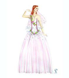 Soffio Rosa - Bride Illustration , Wedding Dress,  Fashion Illustration, fashion illustrator by @MissStyleCreazioni ♥ ♥ ♥ ♥ ♥ ♥ www.etsy.com/shop/MissStyleCreazioni ♥ ♥ ♥ ♥ ♥ ♥