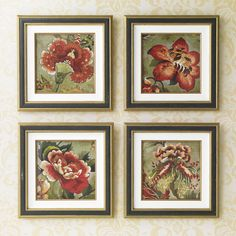 Christmas gift ideas. Red Flowers I - Ethan Allen US. Red artwork. Floral artwork.
