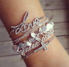 Stacked Bracelets #Love #Silver