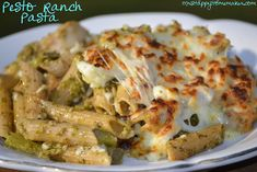 Pesto Ranch Cheesy Pasta Bake ~~ I'm going to omit asparagus and add broccolli and chicken!!!