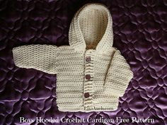 Crochet Baby Boy Cardigan pattern with hood (Easy Hooded Crochet Cardigan Pattern FREE) Easy FREE Crochet Cardigan with hood perfect crochet sweater for baby boys. Boy Crochet Patterns, Crochet Baby Sweater Pattern, Crochet Baby Sweaters, Baby Sweater Patterns, Crochet Baby Clothes, Baby Patterns, Baby Knitting, Free Knitting, Crochet Jacket