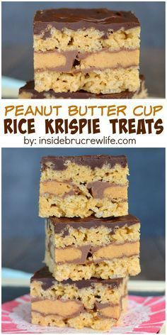 Butter Cup Rice Krispie Treats - These easy no bake treats have a layer of peanut butter cup candies in the middle! Yes, they are a -Peanut Butter Cup Rice Krispie Treats - These easy no bake treats have a layer of peanut . Cereal Treats, No Bake Treats, Yummy Treats, Sweet Treats, Peanut Butter Recipes, Peanut Butter Cups, Peanut Butter Rice Krispies, 13 Desserts, Dessert Recipes