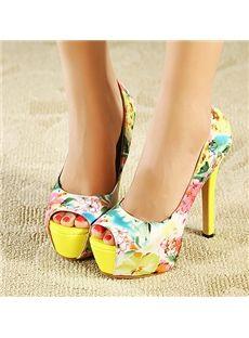 Deluxe Yellow Peep-toe Platform Flower- Print Stiletto Heels