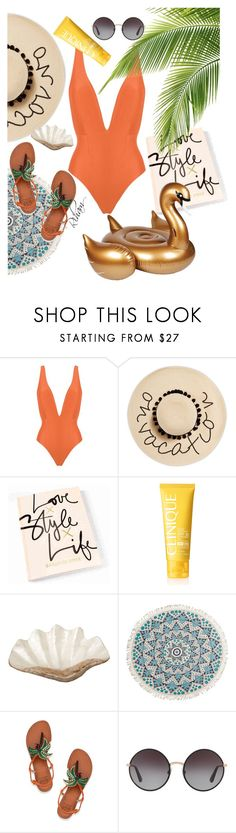 """""""Untitled #505"""" by cremebruleelatte on Polyvore featuring Haight, August Hat, Clinique, Sunnylife, Pearl Dragon, Billabong, Tory Burch and Dolce&Gabbana"""