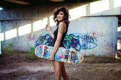 Skater Girl - Model: Samantha Lucero Makeup: Londieloo Blu Photographer/Retoucher: Robert Stebler Skateboard supplied by: Logan Girl Senior Pictures, Senior Girls, Skater Look, Skate Photos, Skater Girl Outfits, Skate Girl, Girl Photo Shoots, Skateboard Girl, Girl Poses