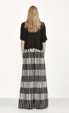 Kaisu Pieni Taite trousers - white, black - New in - Clothing - Marimekko.com